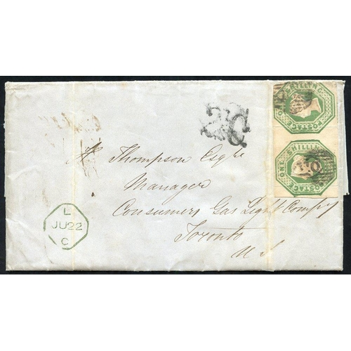 1954 - 1856 cover from London to Toronto, Canada, franked 1s green Embossed horizontal pair, cut into at ri...
