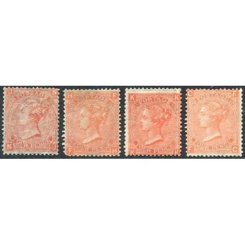 1956 - 1865-73 4d vermilion Pl.8, Pl.9 (rounded corner), Pl.12 (tiny closed tear) & Pl.14, either regummed ...