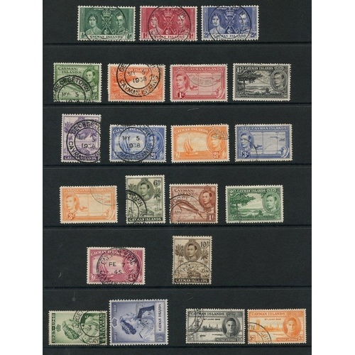 196 - CAYMAN ISLANDS 1937-50 complete (38), CEYLON 1937-52 complete (45), good - FU (the odd poor in Ceylo...