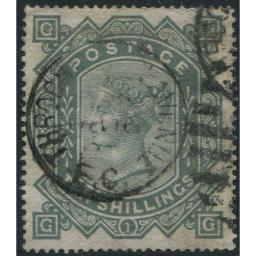 1961 - 1867 Wmk Maltese Cross 10s greenish grey, good colour FU with Throgmorton Ave EC duplex, SG.128. Cat...