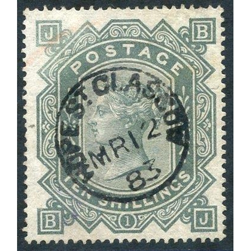 1963 - 1867-83 Wmk Maltese Cross 10s grey-green, VFU with Hope St, Glasgow Mr.12.83 c.d.s, trace of crayon ...