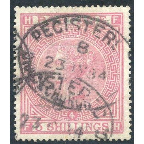 1964 - 1867 Wmk Anchor 5s rose Pl.4, FU with oval registered d/stamps, SG.134. (1) Cat. £4800...