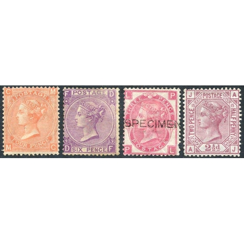 1966 - 1865-73 4d vermilion (SG.94) Pl.13 unused creased, 1870 6d mauve (SG.109) Pl.9 unused, 1867-80 3d ro...