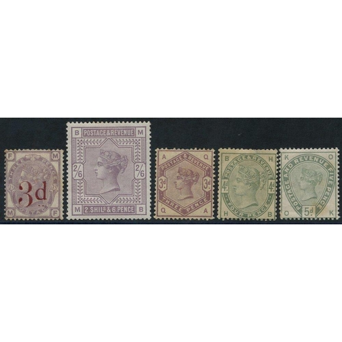 1969 - 1883 3d on 3d M, some toning (SG.159), 1883 2/6d lilac M, creased (SG.178), 1883 3d, 4d & 5d M (faul...
