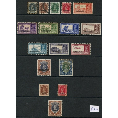 197 - CHAMBA 1938-43 collection incl. 1938 to 1r, 5r (crayon marks), 1942-47 ½a, 1a, 1r, 1943 set, Officia...
