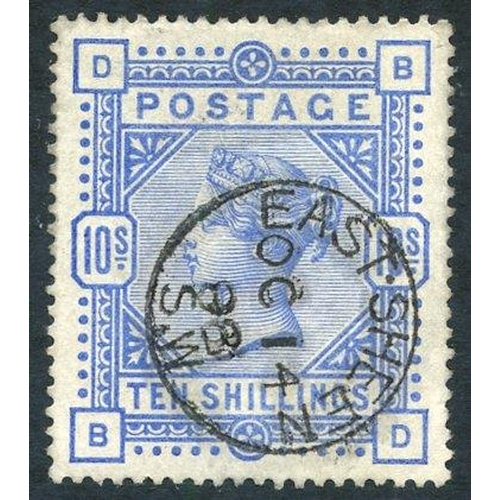 1970 - 1883 10s ultramarine, superb U with a Eastsheen c.d.s, SG.183....