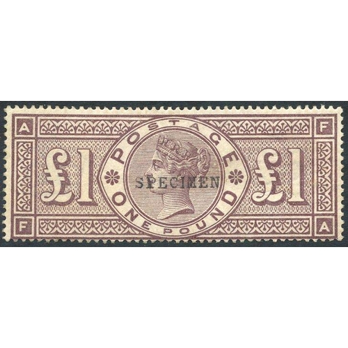 1971 - 1884 Crowns £1 brown lilac optd SPECIMEN Type 9, good strong colour, centred low & gum toned, SG.185...