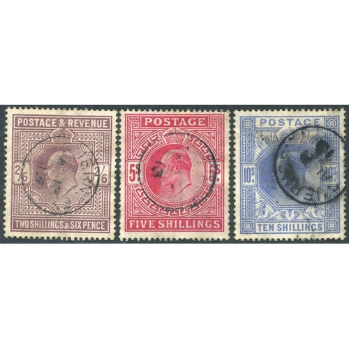 1980 - 1911-13 2/6d, fine c.d.s for Jan 1913, 5s with 1913 c.d.s (perf faults), 10s with heavy c.d.s of 191...