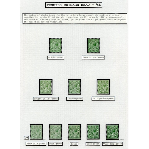1981 - 1912-24 Wmk Royal Cypher M collection on leaves with a range of shades incl. ½d very pale green (RPS...