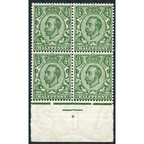 1985 - 1912 ½d deep green, Die II Wmk Crown printed double (one albino), a superb UM centre bottom marginal...