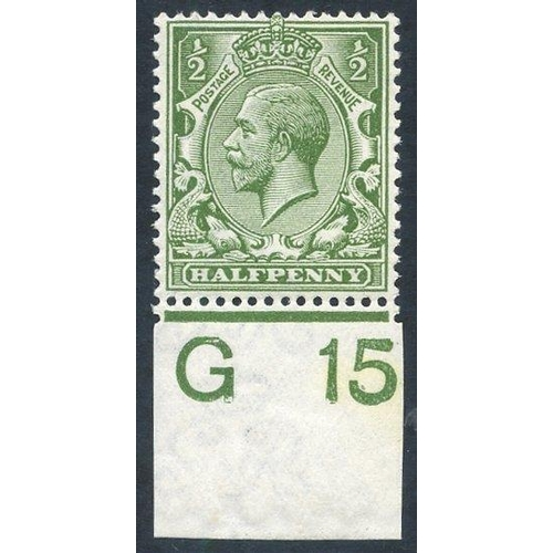 1986 - 1912 ½d olive green, UM Control single (G 15 Imperf), Spec.N14(12). (1)...