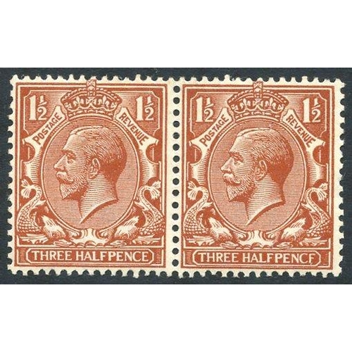 1988 - 1912 1½d chestnut UM pair incl. PENCF error, SG.364a. (2)...