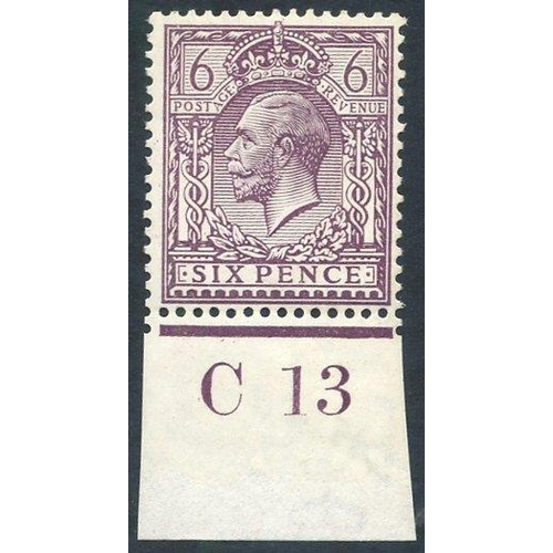 1989 - 1912 6d slate purple, fine M Control single (C.13 Imperf), Spec.N26(2), RPS Cert. 1976. (1)...