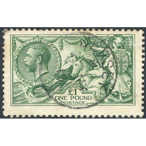 1991 - 1913 Waterlow £1 green, VFU centred high, centrally struck c.d.s, SG.403. (1)...
