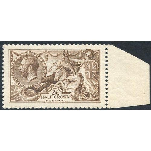 1995 - 1918 Bradbury 2/6d pale brown, fine UM marginal example, SG.415a. (1)...
