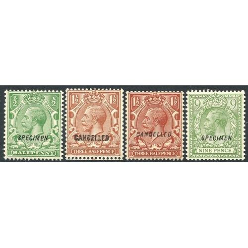 1999 - 1924 ½d optd SPECIMEN Type 23 UM, 1½d optd CANCELLED Type 28 & 33, 9d optd SPECIMEN Type 23 UM (4) C...