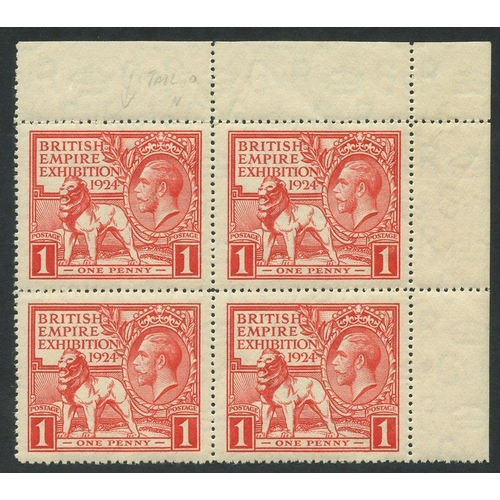2000 - 1924 Wembley 1d, UM corner marginal block of four incl. variety 'tail to N of Exhibition' SG.430 var...