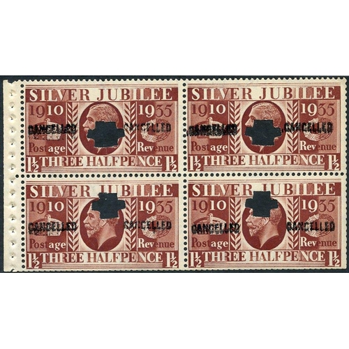 2006 - 1935 Silver Jubilee 1½d Type III, booklet pane of four complete with binding margin, cancelled Type ...