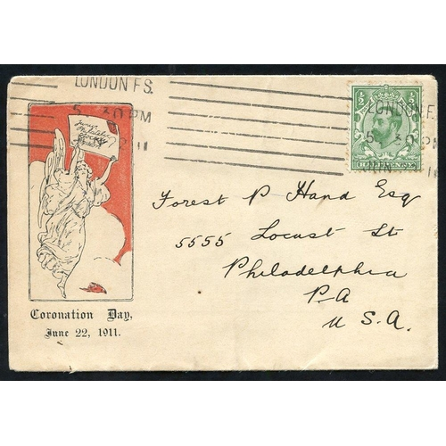 2034 - 1911 Junior Philatelic Society pictorial envelope bearing a ½d KGV Downey cancelled London F.S Jun.2...