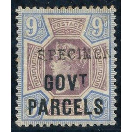 2044 - GOVT PARCELS 1888 9d dull purple & blue overprint in blue-black & overprinted SPECIMEN Type 9, large...