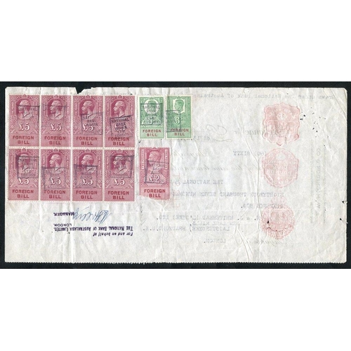 2046 - 1949-50 group of seven documents, variety of Foreign Bill (KGVI) franking to £5, originating from Ne...