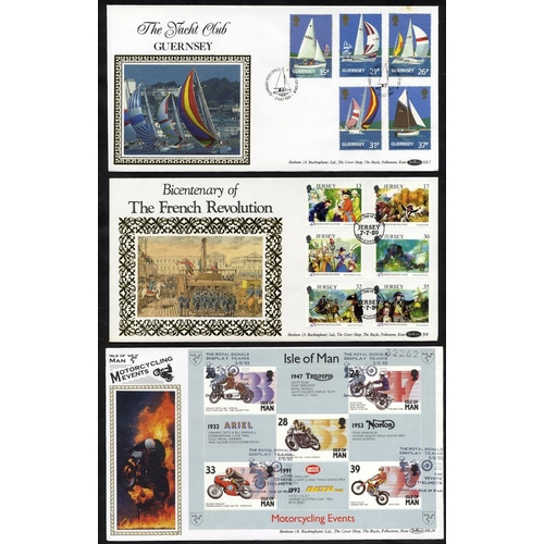 2047 - CHANNEL ISLANDS & ISLE OF MAN - BENHAM SILK FDC's collection of Alderney (13), Guernsey (60), Isle o...