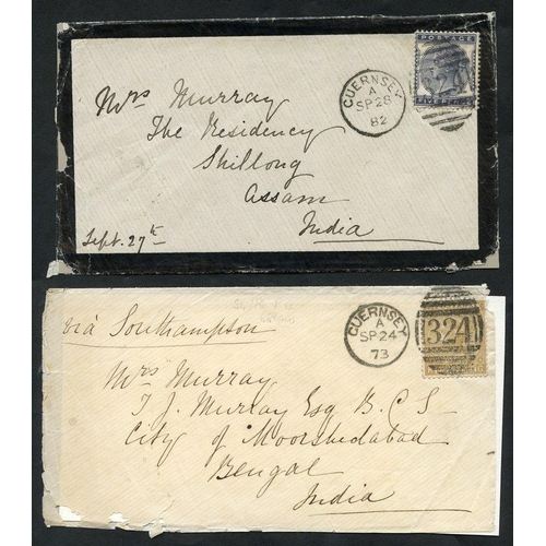 2048 - 1858-85 entire letters and covers from Jersey (4) or Guernsey (12) all addressed abroad, one to Fran...