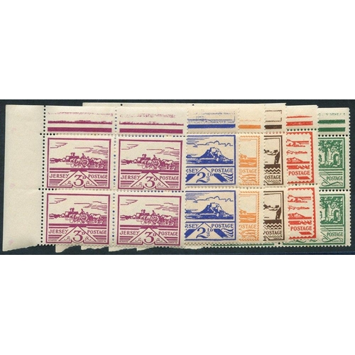 2050 - JERSEY 1943-44 Arms set in UM corner blocks of four, SG.3/8....