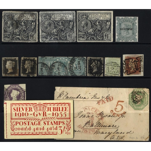 2052 - LATE LOT - GREAT BRITAIN miscellaneous accumulation in small stock books, stock cards, on leaves etc...