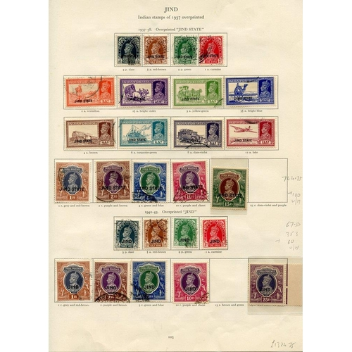 211 - JIND 1937-42 mainly FU collection (not complete) incl. 1937-38 to 10r FU, 15r UM, 1942-43 to 10r FU,...
