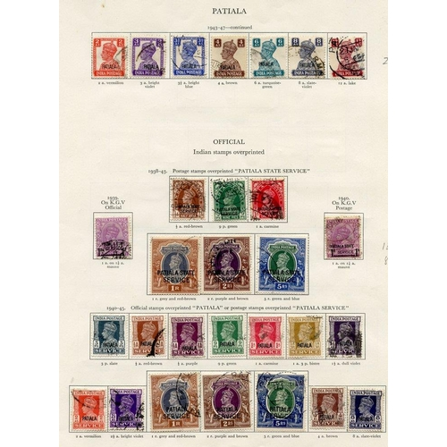 235 - PATIALA 1937-45 complete except for 1937 set to 2r U (5r is UM) 10r, 15r & 25r excluded. Cat. £1325....
