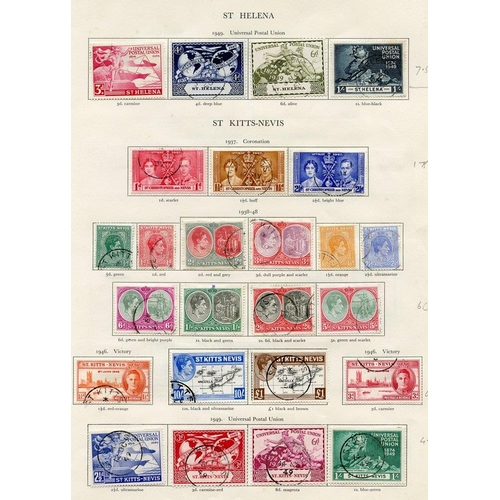 243 - ST. HELENA 1937-49 complete (28), ST. KITTS NEVIS 1937-52 complete (43) Cat. £246...
