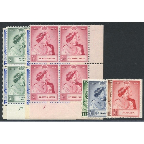 252 - 1948 Wedding - Leewards & St. Kitts Nevis each in UM marginal blocks of four, the top vals are Plate...