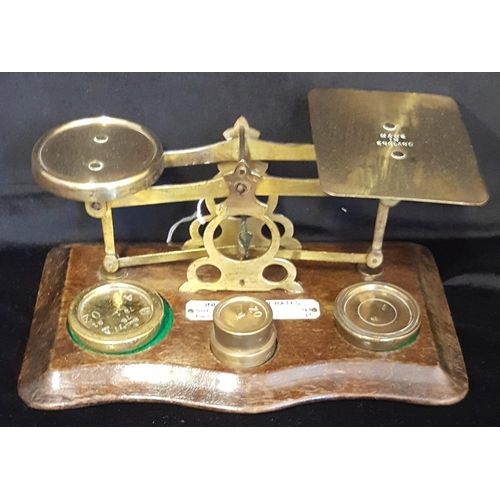 258 - POSTAL SCALE 19thC (late) brass postal scale on hardwood base with IVORINE label, printed 'INLAND LE...