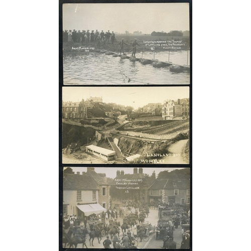 270 - ACCUMULATION of cards - noted RP's incl. 1909 Army Manoeuvers Infantry crossing the Thames at Lechla...