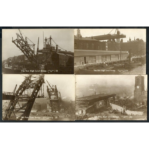 285 - NEWCASTLE UPON TYNE 1927 Building of the Tyne Bridge, collection of RP's by Johnston (31 cards numbe...