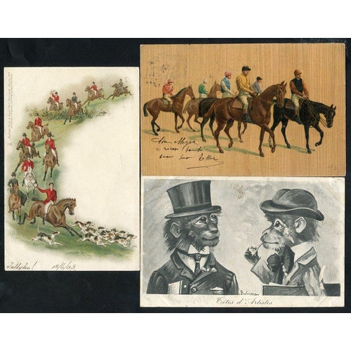 292 - HORSE RACING modern album containing approx 70 cards incl. Donald McGill comic types, The World of E...