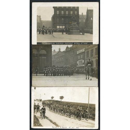 293 - MILITARY Northumberland Fusiliers collection of 57 cards incl. In Camp of Berwick, Territorial Parad...
