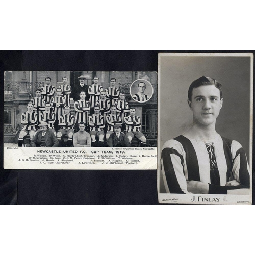 296 - NEWCASTLE UNITED two RP's 1907 J. Finlay (player) half length portrait, some soiling & card slightly...