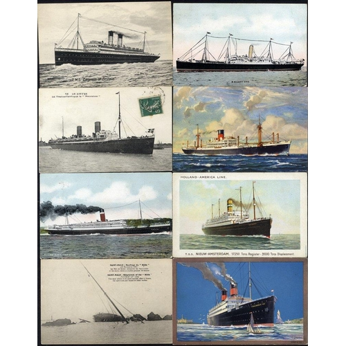 298 - SHIPPING collection of 150 cards showing a variety of liners/cruisers/steamers, Wreck of the Hilda e...