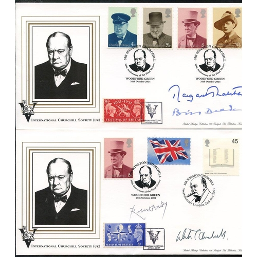 302 - 2001 Churchill Society commemorative covers (5) with attractive frankings & signatures (8) relating ...