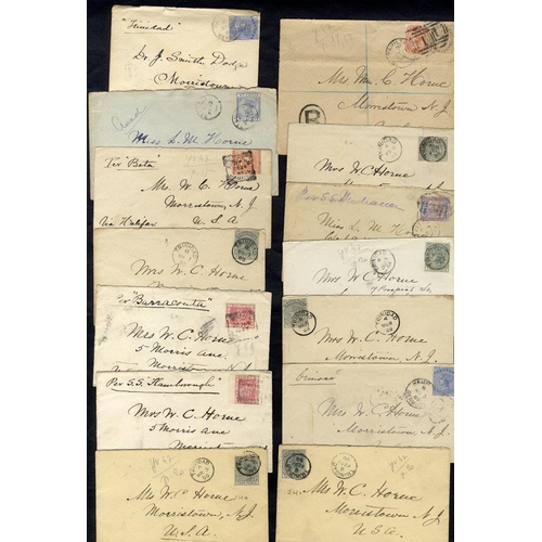 311 - B.W.I 1884-93 range of covers (13) to USA from St Lucia, Bermuda, Trinidad, B. Guiana, St Kitts & Ja...