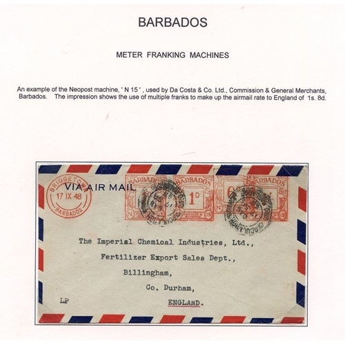 312 - B.W.I METER FRANKING MACHINES 1946-48 two covers of the Neopost machine No. 3 of Jamaica & No. 15 of...