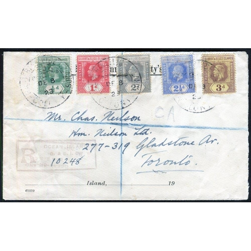 322 - PACIFIC - Gilbert & Ellice Island covers (6) incl. 1923 reg cover with five stamp franking, Pitcairn...