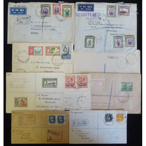 323 - PACIFIC ISLANDS COVERS 20thC interesting group with 1918 pair WWI Samoa (Wilson) reg covers with dif...