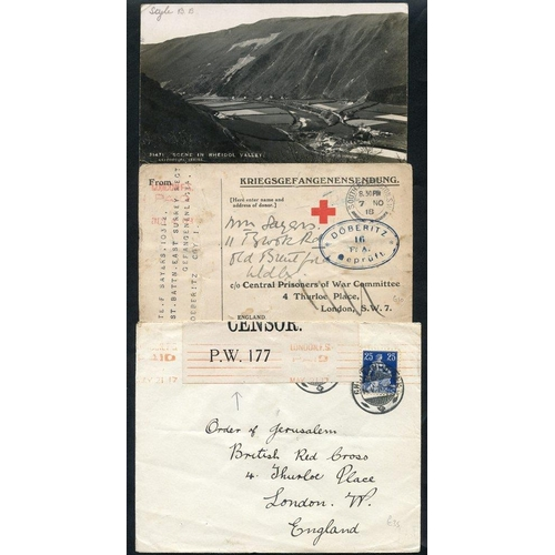 328 - WWI - POW's in Germany covers & cards from Allied POW's incl. British men in Doberitz (3), Chateau D...