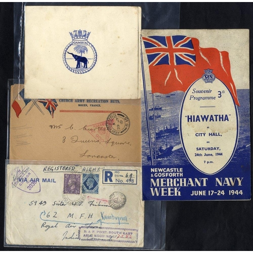329 - WWI & WWII collection of postcards, crested Christmas cards, Life of Lord Kitchener book, 1941 Naval...