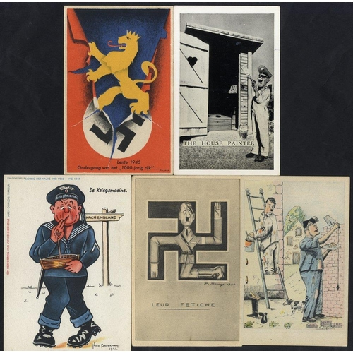 332 - WWII PROPAGANDA CARDS interesting range of 35 cards from various countries with anti Hitler and/or M...