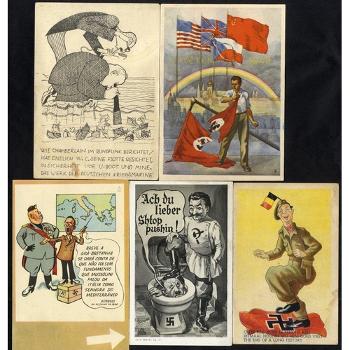 333 - WWII PROPAGANDA CARDS (12) mostly German comic types from various countries. Noted - Hitler being pu...