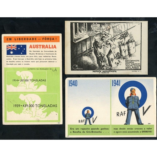334 - WWII propaganda postcards - group of different, unused cards incl. scarce Norwegian anti Hitler card...